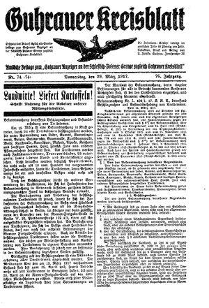Guhrauer Anzeiger an der Schlesisch-Posener Grenze vom 29.03.1917