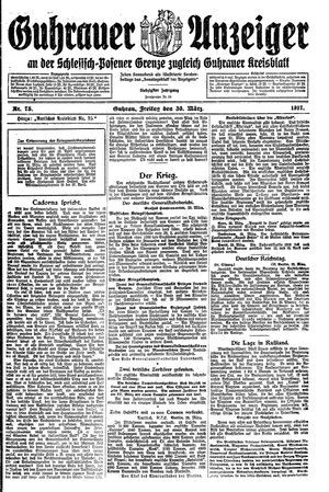 Guhrauer Anzeiger an der Schlesisch-Posener Grenze vom 30.03.1917