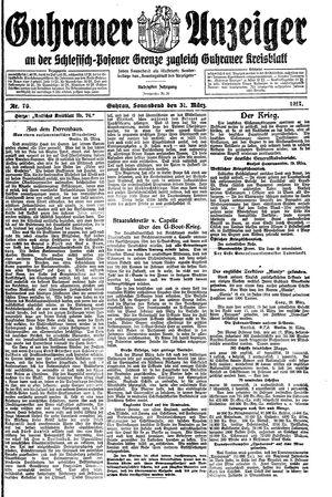 Guhrauer Anzeiger an der Schlesisch-Posener Grenze vom 31.03.1917