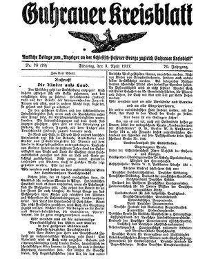 Guhrauer Anzeiger an der Schlesisch-Posener Grenze vom 03.04.1917