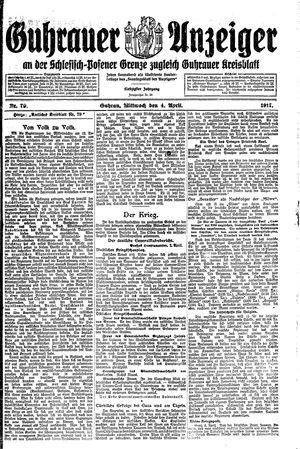 Guhrauer Anzeiger an der Schlesisch-Posener Grenze vom 04.04.1917