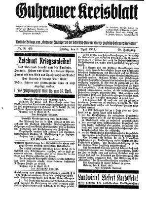 Guhrauer Anzeiger an der Schlesisch-Posener Grenze vom 06.04.1917