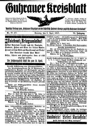 Guhrauer Anzeiger an der Schlesisch-Posener Grenze vom 08.04.1917