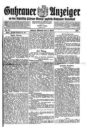 Guhrauer Anzeiger an der Schlesisch-Posener Grenze vom 11.04.1917