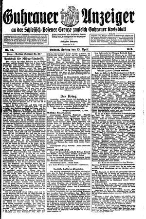 Guhrauer Anzeiger an der Schlesisch-Posener Grenze vom 13.04.1917