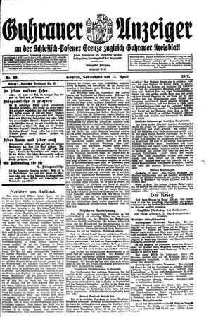 Guhrauer Anzeiger an der Schlesisch-Posener Grenze vom 14.04.1917