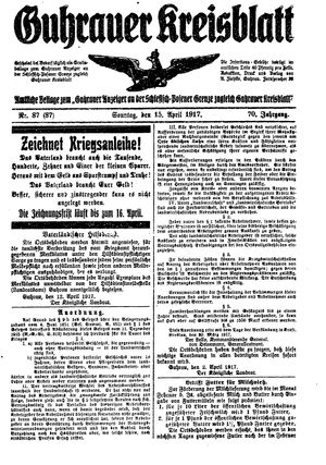 Guhrauer Anzeiger an der Schlesisch-Posener Grenze vom 15.04.1917