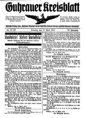 Guhrauer Anzeiger an der Schlesisch-Posener Grenze vom 17.04.1917
