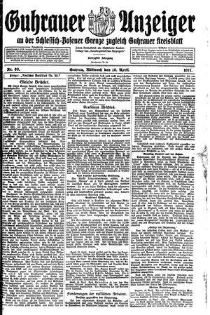 Guhrauer Anzeiger an der Schlesisch-Posener Grenze vom 18.04.1917