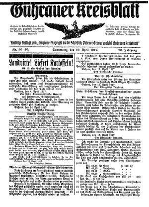 Guhrauer Anzeiger an der Schlesisch-Posener Grenze vom 19.04.1917