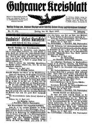 Guhrauer Anzeiger an der Schlesisch-Posener Grenze vom 20.04.1917