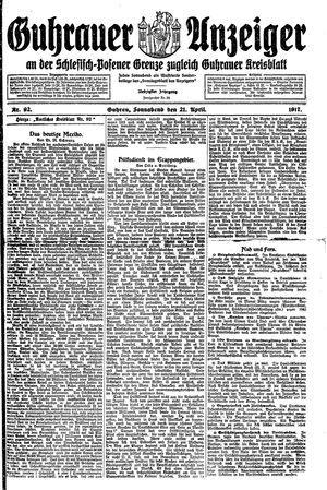 Guhrauer Anzeiger an der Schlesisch-Posener Grenze vom 21.04.1917
