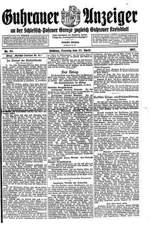 Guhrauer Anzeiger an der Schlesisch-Posener Grenze vom 22.04.1917
