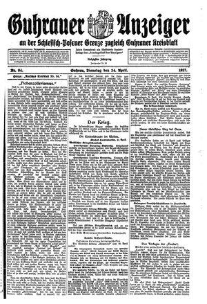 Guhrauer Anzeiger an der Schlesisch-Posener Grenze vom 24.04.1917