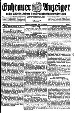 Guhrauer Anzeiger an der Schlesisch-Posener Grenze vom 25.04.1917