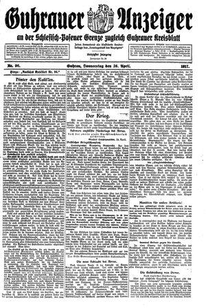 Guhrauer Anzeiger an der Schlesisch-Posener Grenze vom 26.04.1917