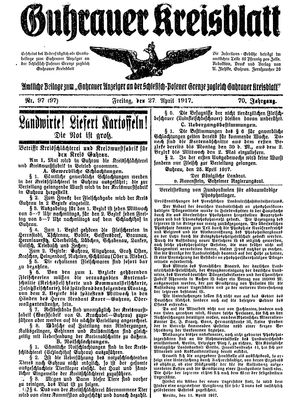 Guhrauer Anzeiger an der Schlesisch-Posener Grenze vom 27.04.1917