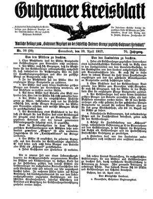 Guhrauer Anzeiger an der Schlesisch-Posener Grenze vom 28.04.1917