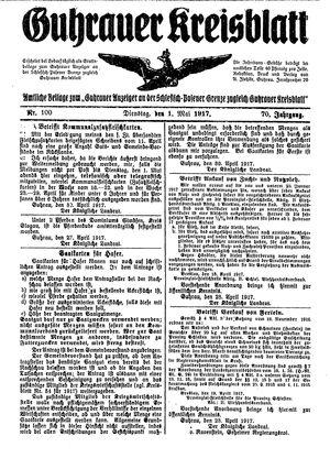 Guhrauer Anzeiger an der Schlesisch-Posener Grenze vom 01.05.1917