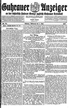 Guhrauer Anzeiger an der Schlesisch-Posener Grenze vom 02.05.1917