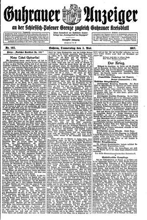 Guhrauer Anzeiger an der Schlesisch-Posener Grenze vom 03.05.1917