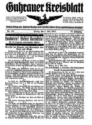 Guhrauer Anzeiger an der Schlesisch-Posener Grenze vom 04.05.1917