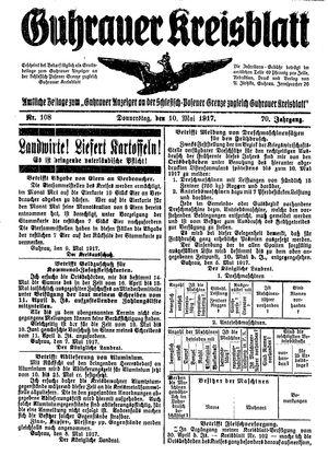 Guhrauer Anzeiger an der Schlesisch-Posener Grenze vom 10.05.1917