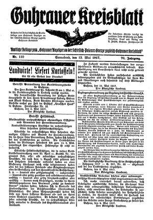 Guhrauer Anzeiger an der Schlesisch-Posener Grenze vom 12.05.1917