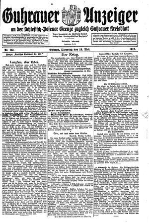 Guhrauer Anzeiger an der Schlesisch-Posener Grenze vom 15.05.1917