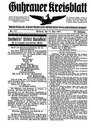 Guhrauer Anzeiger an der Schlesisch-Posener Grenze vom 16.05.1917