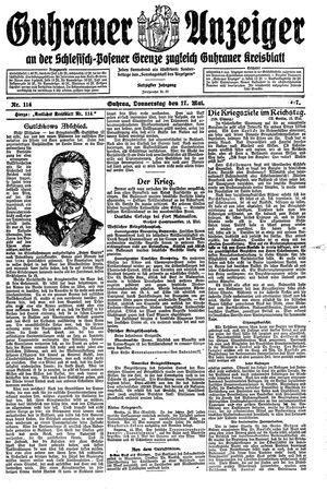 Guhrauer Anzeiger an der Schlesisch-Posener Grenze vom 17.05.1917