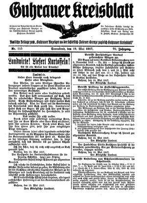 Guhrauer Anzeiger an der Schlesisch-Posener Grenze on May 19, 1917