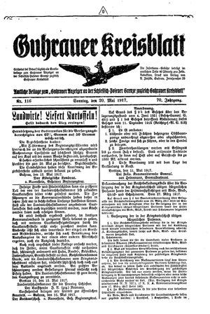 Guhrauer Anzeiger an der Schlesisch-Posener Grenze vom 20.05.1917