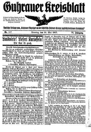 Guhrauer Anzeiger an der Schlesisch-Posener Grenze vom 22.05.1917