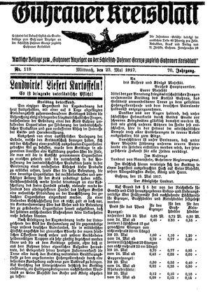 Guhrauer Anzeiger an der Schlesisch-Posener Grenze vom 23.05.1917