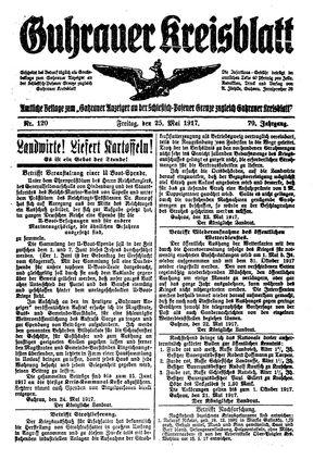 Guhrauer Anzeiger an der Schlesisch-Posener Grenze on May 25, 1917