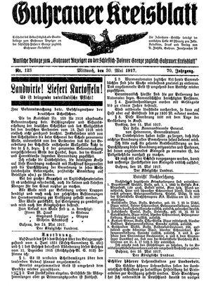 Guhrauer Anzeiger an der Schlesisch-Posener Grenze vom 30.05.1917