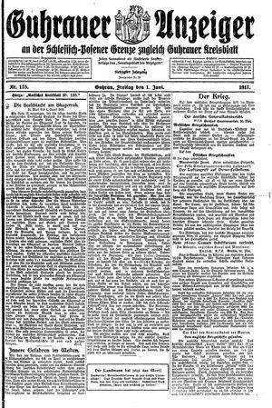 Guhrauer Anzeiger an der Schlesisch-Posener Grenze vom 01.06.1917