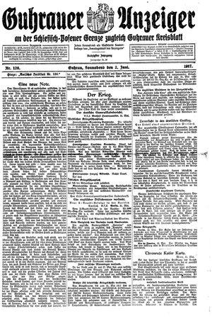 Guhrauer Anzeiger an der Schlesisch-Posener Grenze vom 02.06.1917