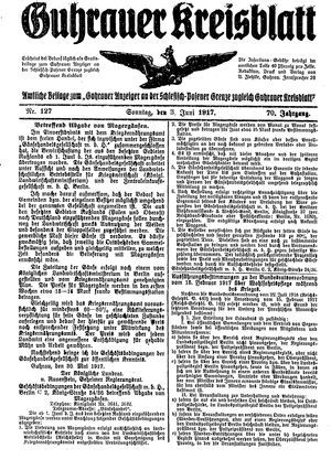 Guhrauer Anzeiger an der Schlesisch-Posener Grenze vom 03.06.1917