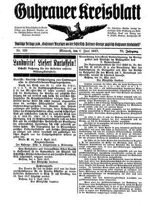 Guhrauer Anzeiger an der Schlesisch-Posener Grenze vom 06.06.1917