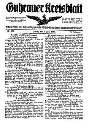 Guhrauer Anzeiger an der Schlesisch-Posener Grenze vom 08.06.1917