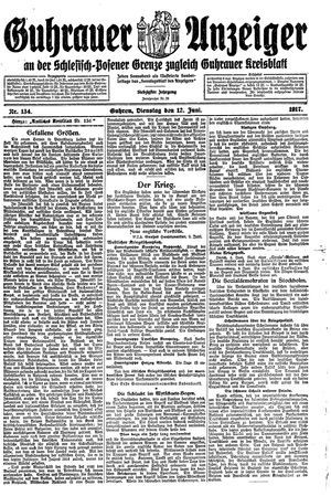 Guhrauer Anzeiger an der Schlesisch-Posener Grenze vom 12.06.1917