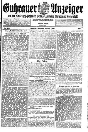 Guhrauer Anzeiger an der Schlesisch-Posener Grenze vom 13.06.1917