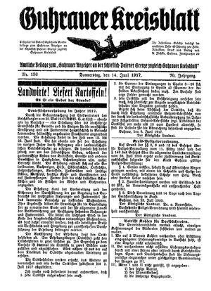 Guhrauer Anzeiger an der Schlesisch-Posener Grenze vom 14.06.1917
