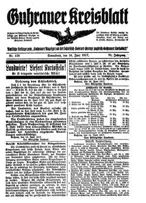 Guhrauer Anzeiger an der Schlesisch-Posener Grenze vom 16.06.1917