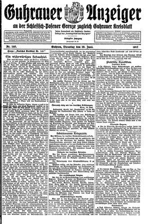 Guhrauer Anzeiger an der Schlesisch-Posener Grenze vom 19.06.1917