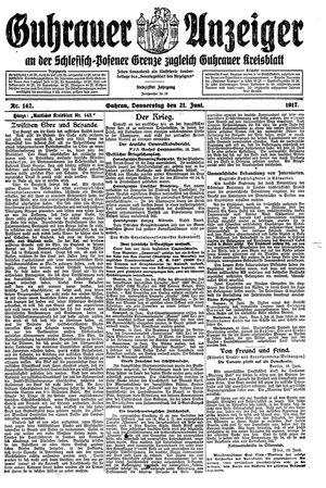 Guhrauer Anzeiger an der Schlesisch-Posener Grenze vom 21.06.1917