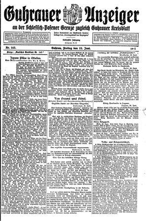 Guhrauer Anzeiger an der Schlesisch-Posener Grenze vom 22.06.1917