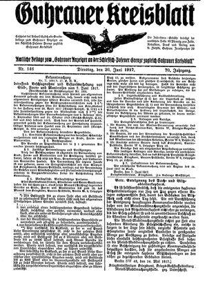 Guhrauer Anzeiger an der Schlesisch-Posener Grenze vom 26.06.1917